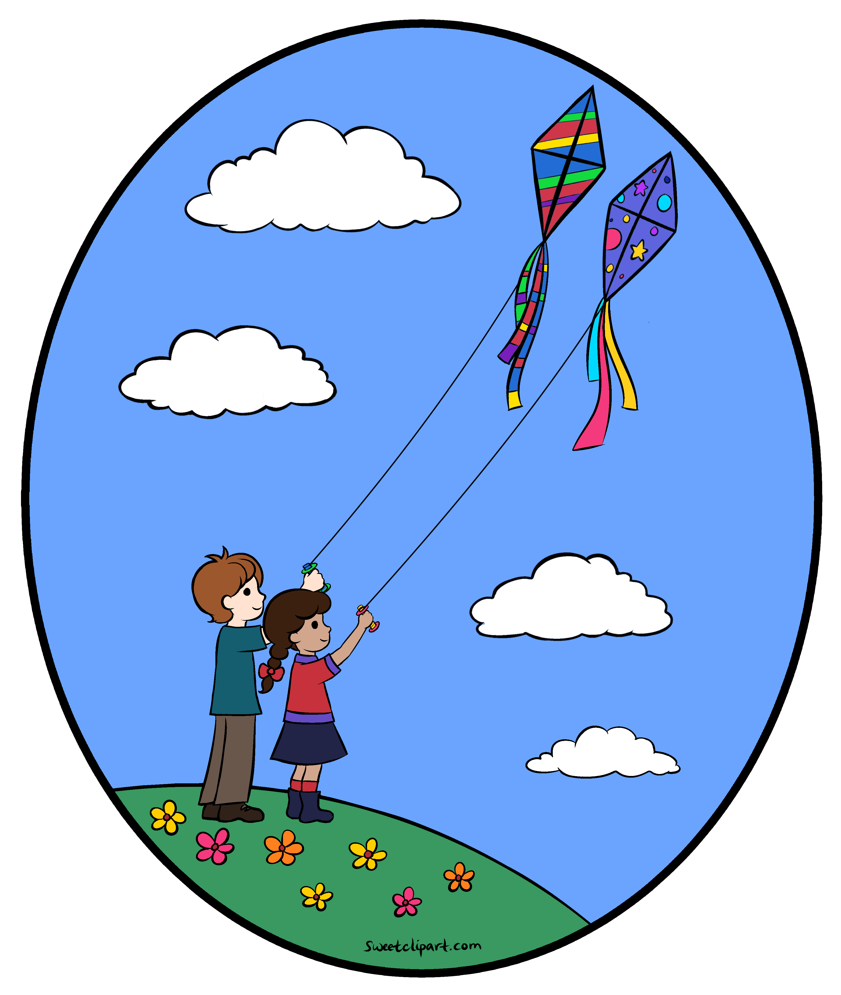 Flying Kites Clipart Illustration.