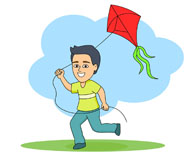 Animal flying kites clipart.