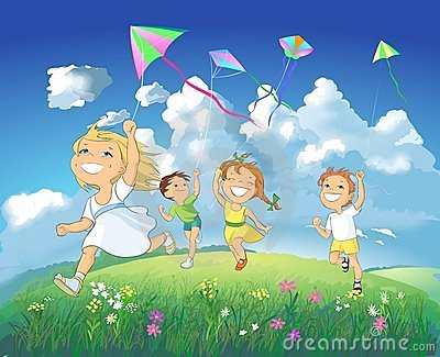 Cartoon Boy Flying Kite Stock Photos, Images, & Pictures.