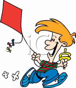Cartoon Clipart Picture of a Boy Flying a Kite.
