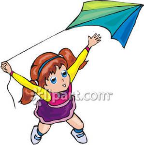 Girl flying kite clipart.