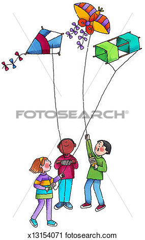 Drawing of kids flying kites free clipart.