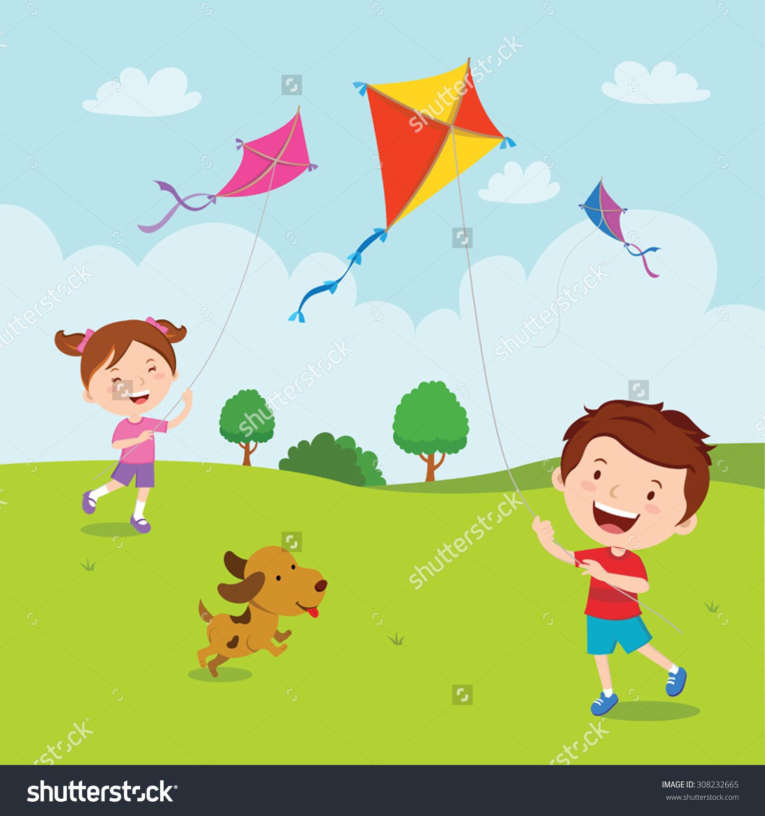 Kids Playing Kites Vector Illustration Children Stock Vector.