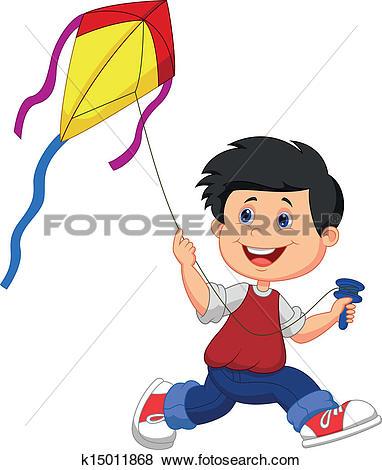 Clip Art of Kid Boy Kite Flying k14570446.