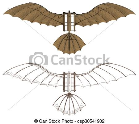 Vectors of Flying Machine Leonardo Hang Glider.