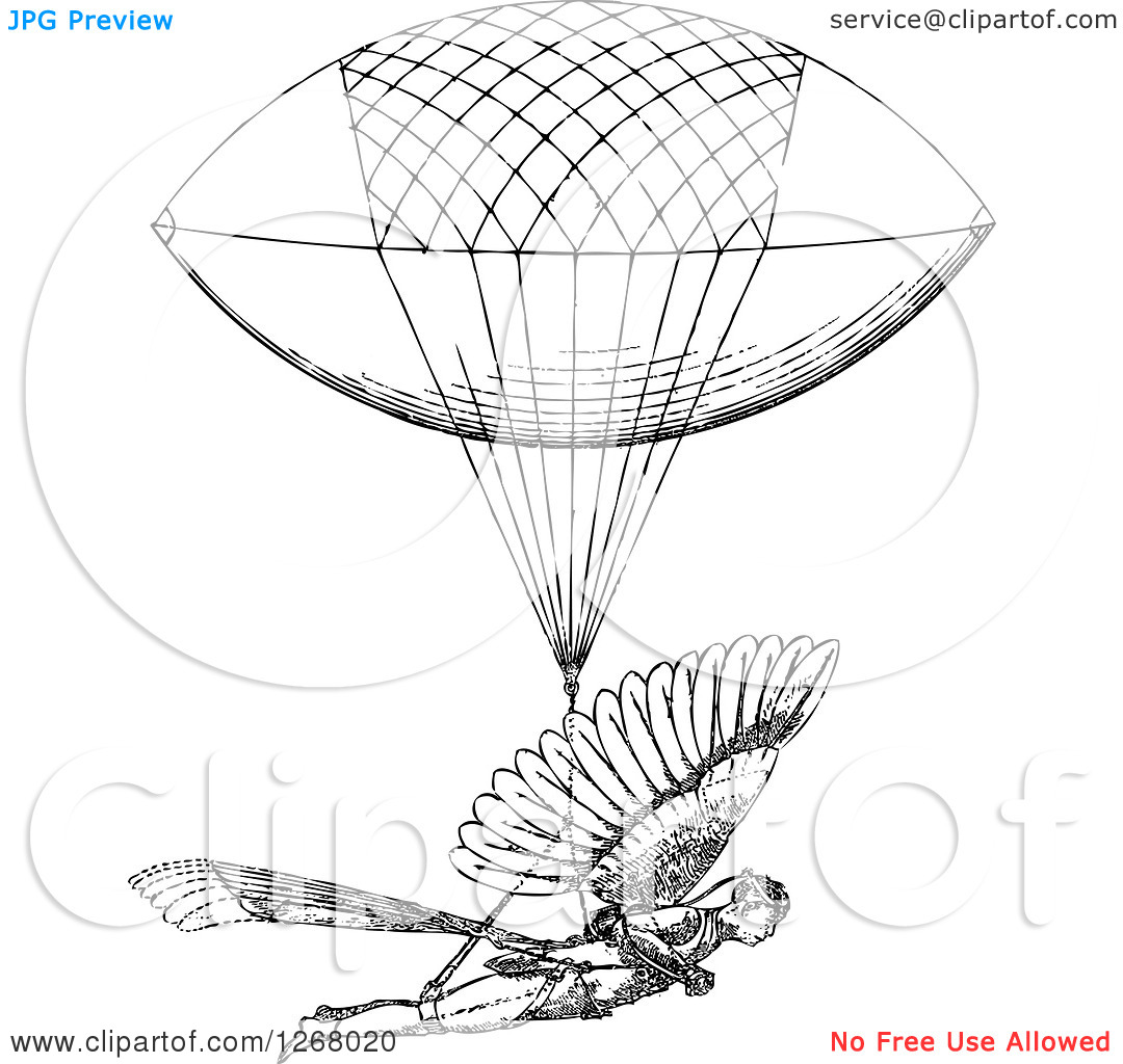 Clipart of a Black and White Man with a Flying Machine.