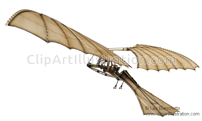 ClipArt Illustration Flying Machine by Leonardo Da Vinci.