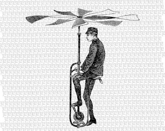 Man Flying Machine Victorian Technology Invention Antique Vintage.