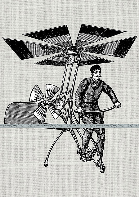 Vintage Steampunk Man in Flying Machine Clipart by UpstairsCats.
