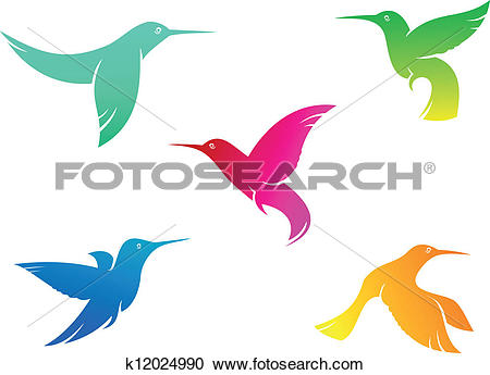 Clipart of Flying color hummingbirds k12024990.
