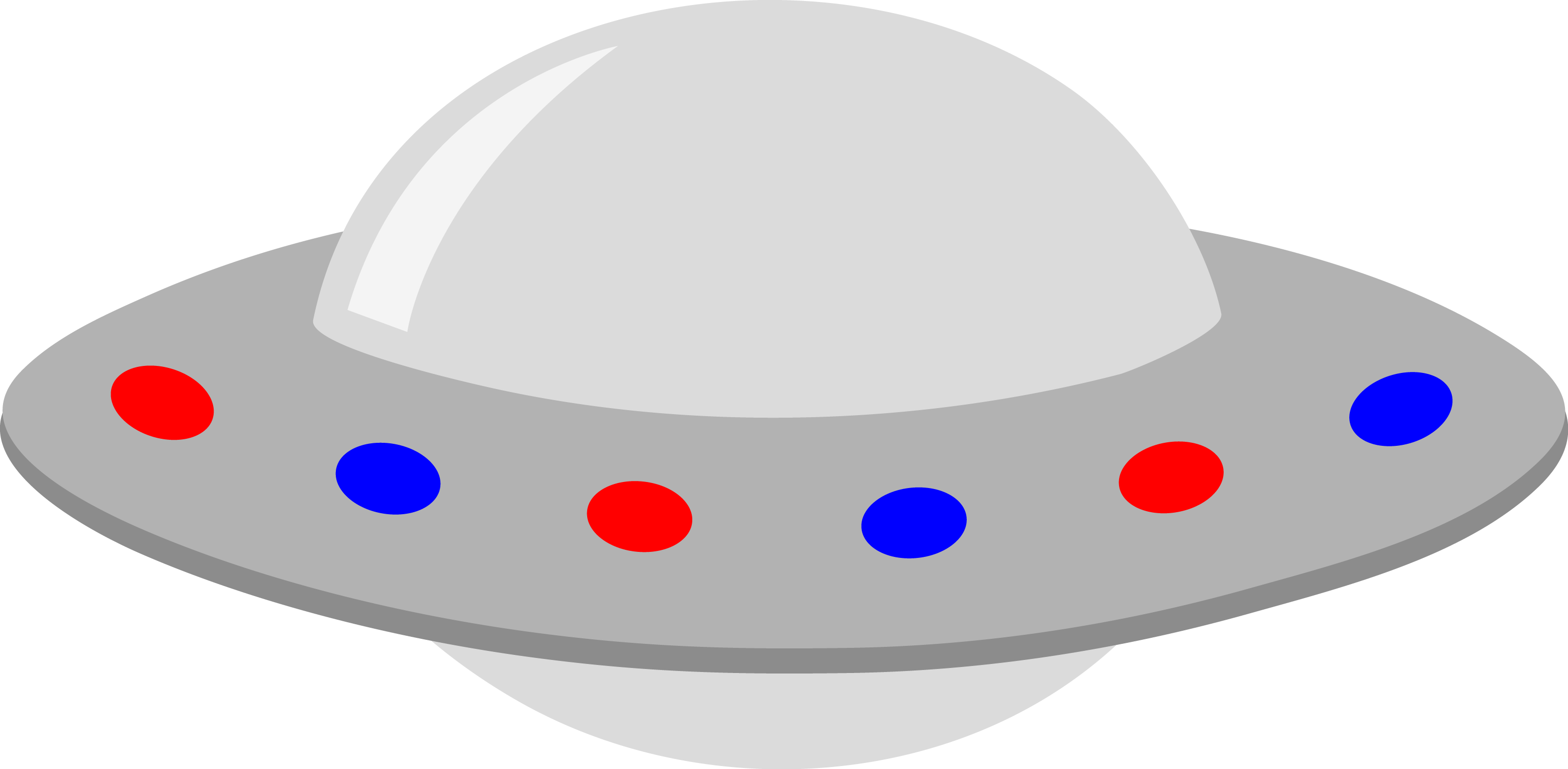 Silver UFO with Red and Blue Lights.