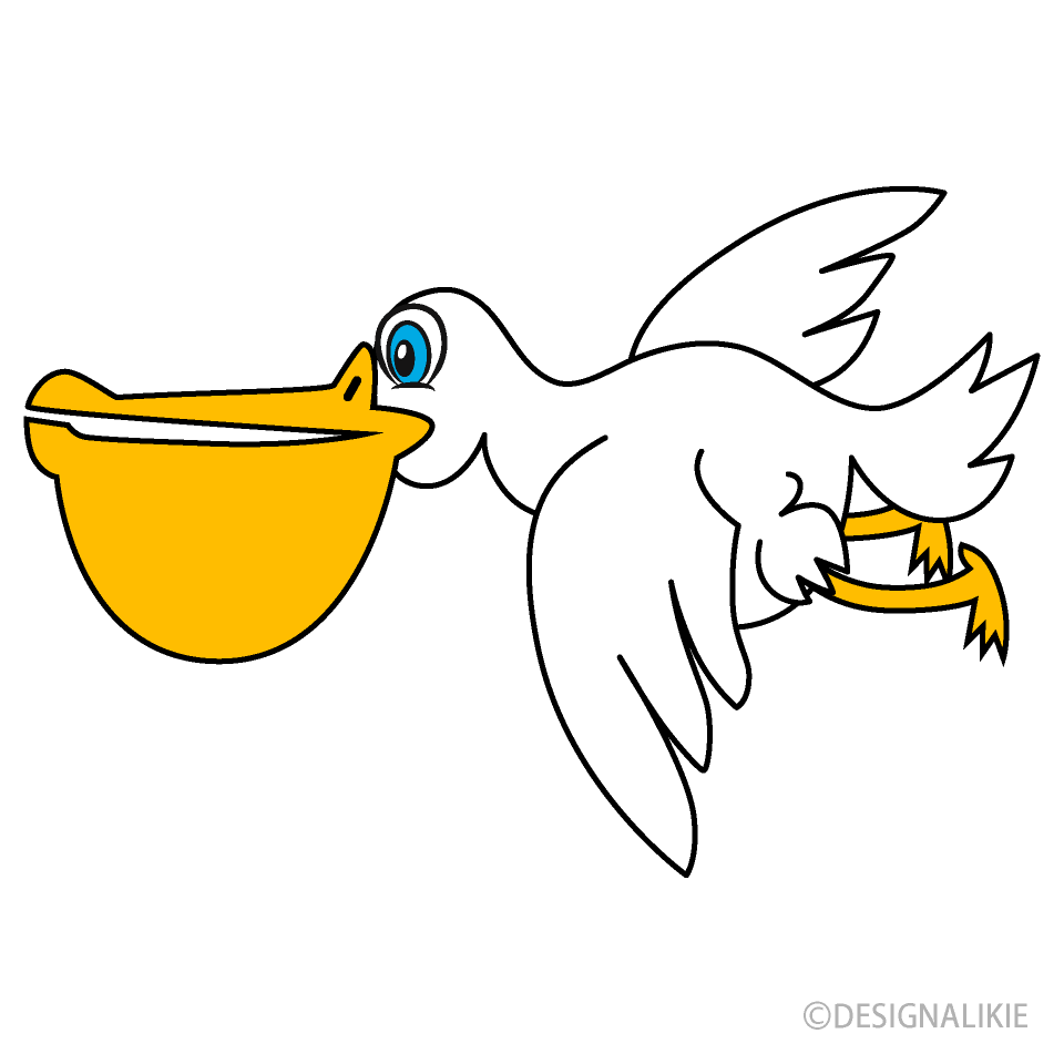 Free Flying Pelican Cartoon Image|Illustoon.