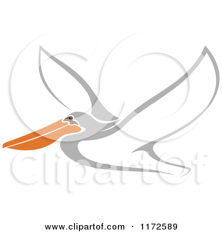 Free Retro Clipart Illustration Of A White Pelican Catching Fish.