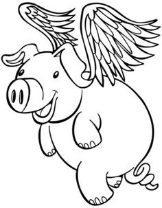 Flying Pig Clipart Black And White.