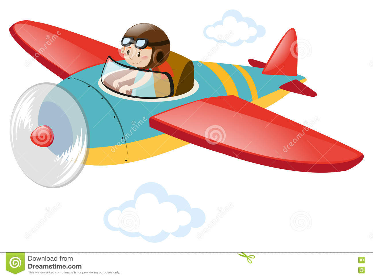 Pilot Flying Airplane In The Sky Stock Vector.