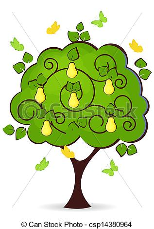 Clip Art Vector of pear tree with yellow ripe fruit butterflies.