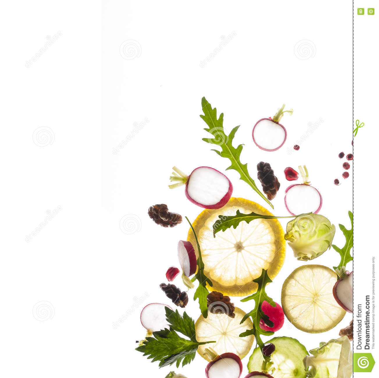 Flying Fruits And Vegetables On A White Background Stock Photo.