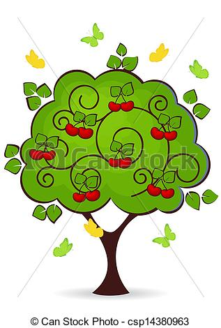 Clip Art Vector of cherry tree with red ripe fruits butterflies.
