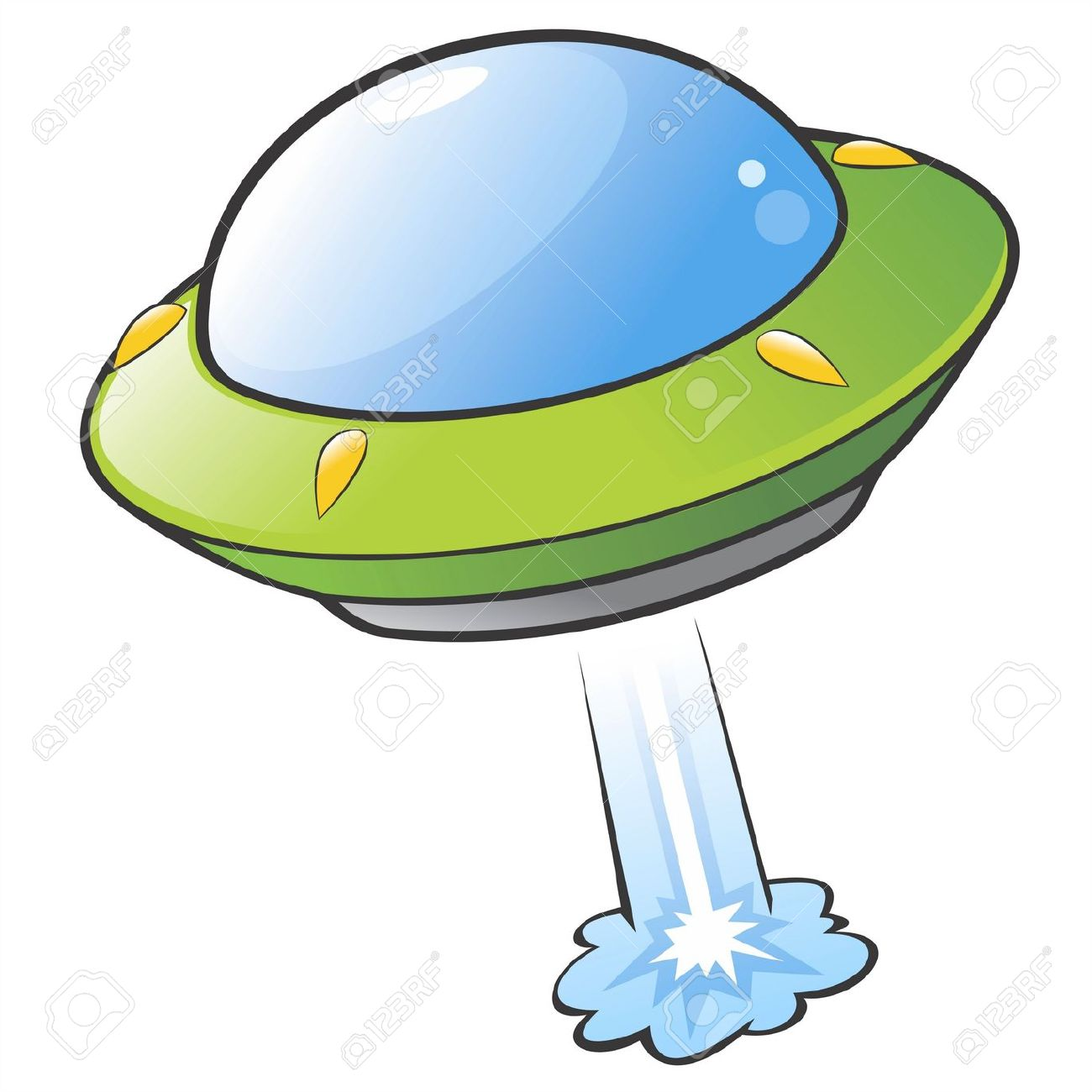 Illustration Of A Cartoon Flying Saucer Royalty Free Cliparts.