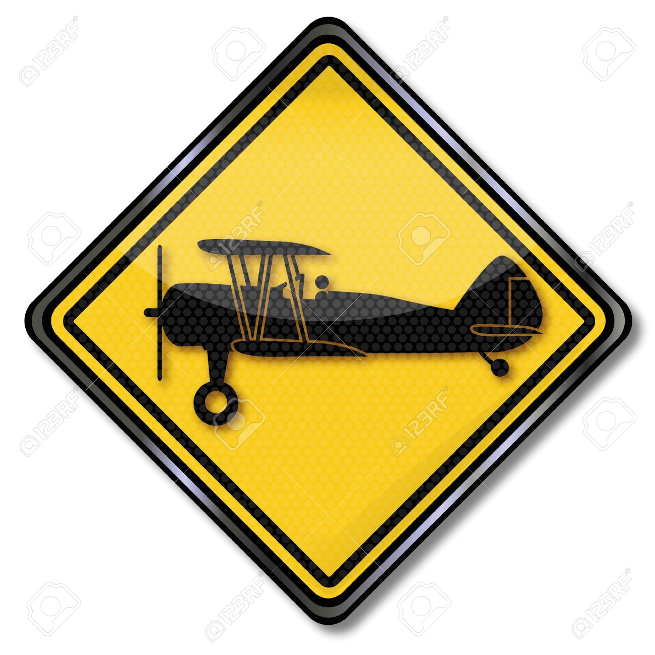 Sign Biplane, Flight Hour And Flight School Royalty Free Cliparts.