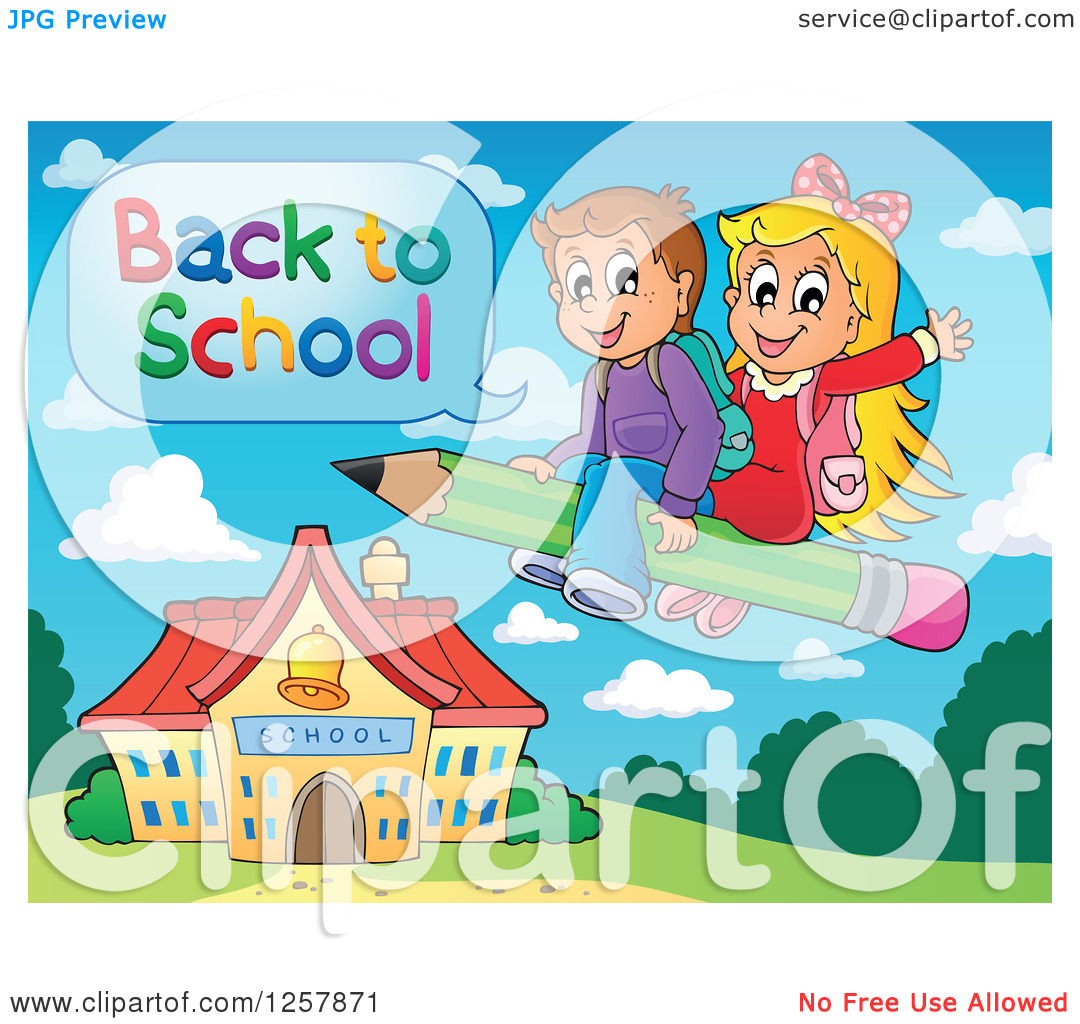 Clipart of Happy Caucasian Children Saying Back to School and.