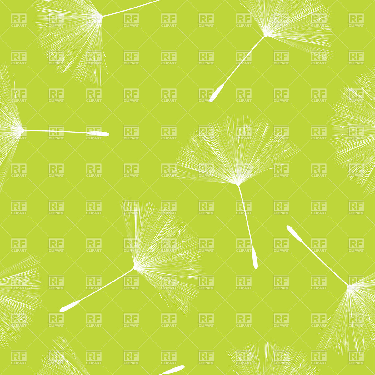 Seamless background with flying dandelion seeds Vector Image #6601.