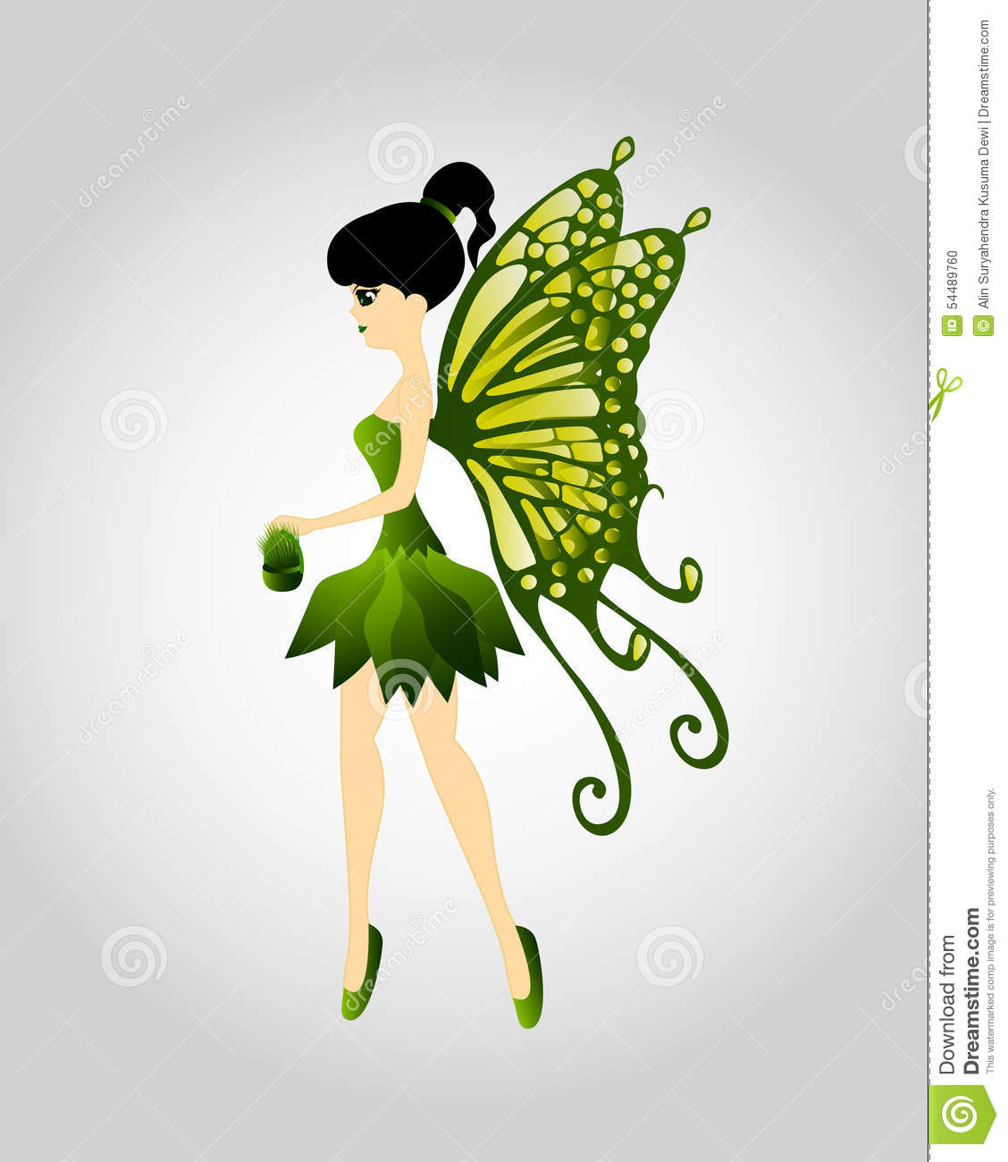 Green Fairy Flying With Seeds Stock Vector.