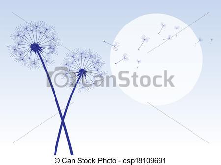 EPS Vectors of blue dandelions with flying seeds csp18109691.