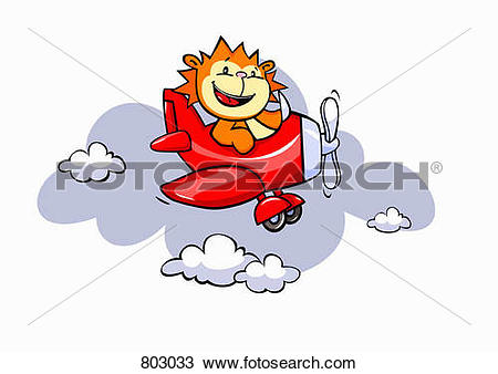 Clipart of A lion flying an airplane 803033.
