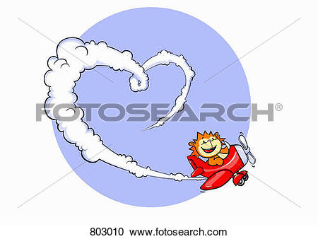 Clipart of A lion flying an airplane and making heart with a vapor.