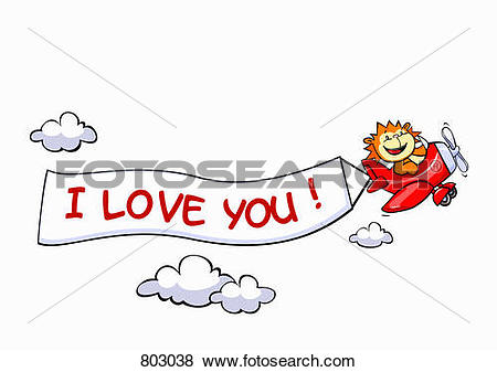 Clip Art of A lion flying an airplane with a banner attached to it.