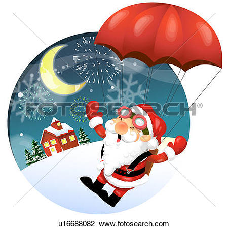 Clip Art of Side view of Santa Claus flying in parachute u16688082.