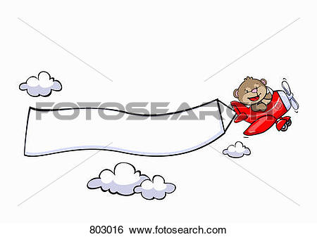 Clip Art of A bear flying an airplane with a blank banner attached.