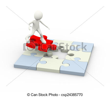 Stock Illustrations of 3d flying man on red puzzle piece.