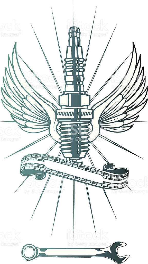 Flying Spark Plug stock vector art 164314968.
