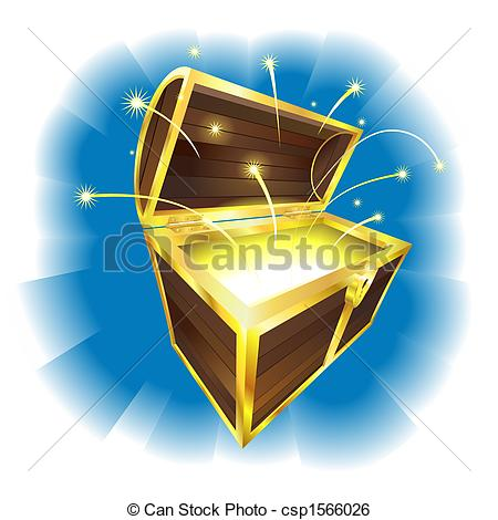 Clip Art Vector of Illustration of treasure chest with sparks.