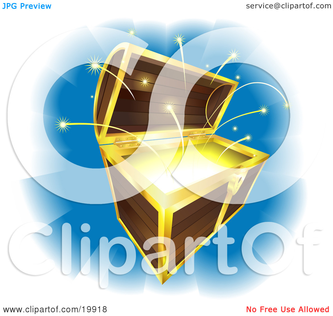 Clipart Illustration of an Open Wooden Treasure Chest With Gold.