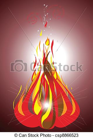Vectors of Bonfire on a dark background.