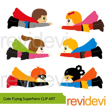 Cute Flying Superhero clip art.