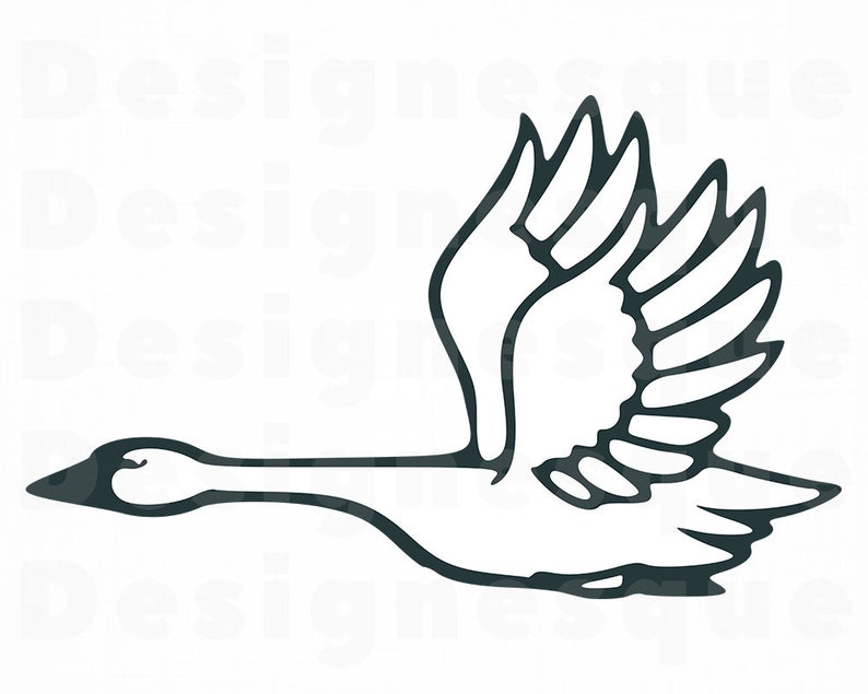 Flying Swan SVG, Swan SVG, Flying Swan Clipart, Flying Swan Files for  Cricut, Flying Swan Cut Files For Silhouette, Dxf, Png, Eps, Vector.