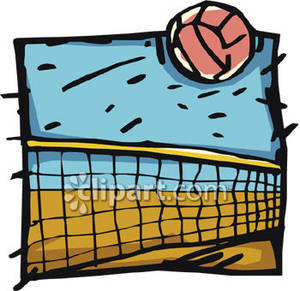A Volleyball Flying Over a Net Royalty Free Clipart Picture.