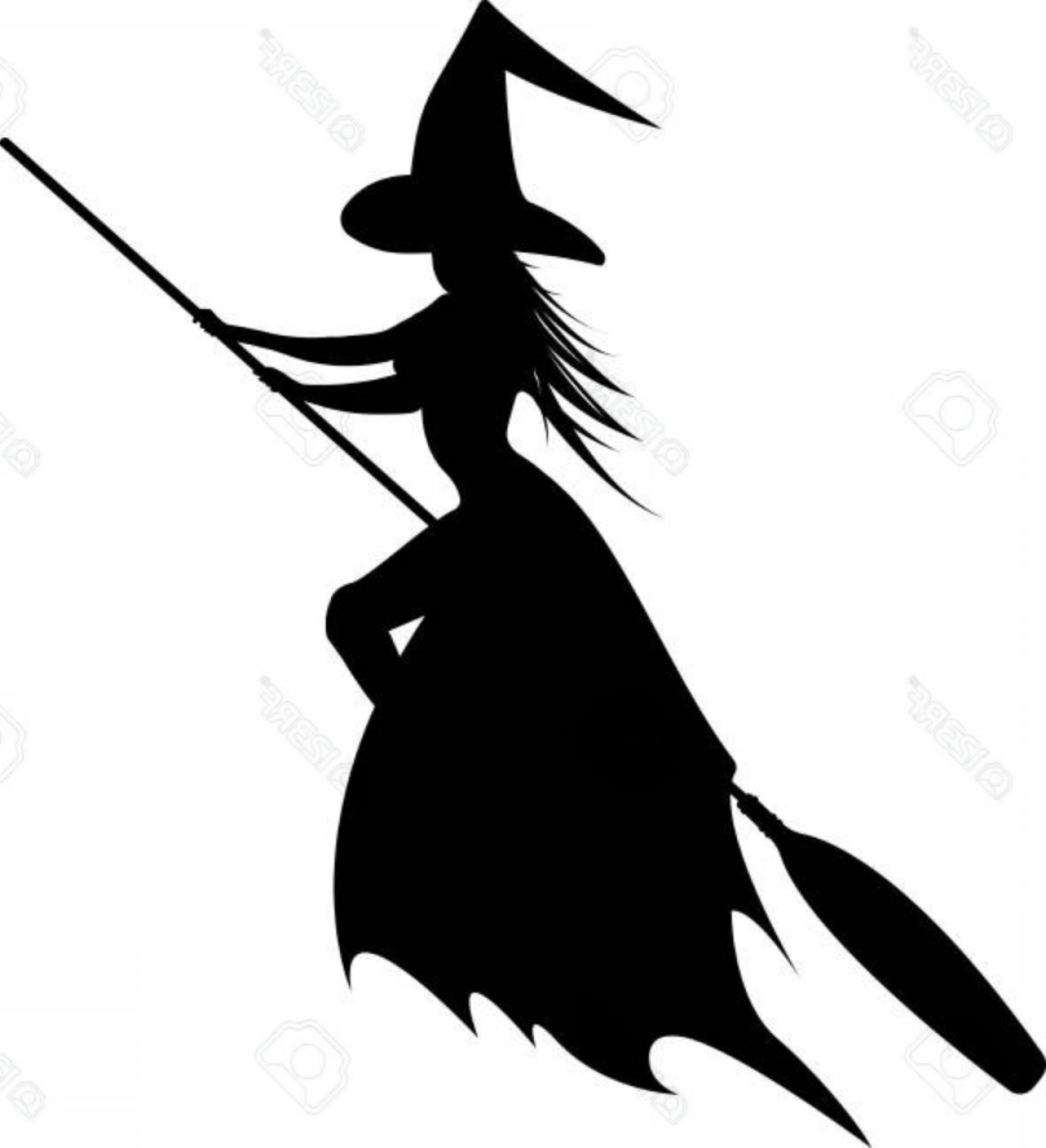 Photostock Vector Silhouette Of The Flying Witch Vector Illustration.