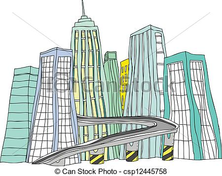 Clipart Vector of City skyline with flyover.