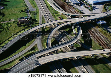 Stock Photography of USA, Virginia, Norfolk, flyovers and highway.