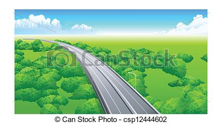 Vector Clipart of flyover over green landscape.