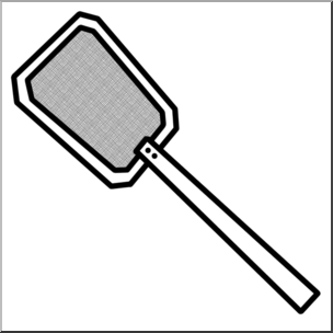 Clip Art: Fly Swatter B&W.