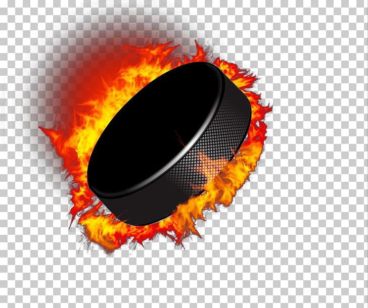 Hockey puck Ice hockey Hockey stick Goal, Flame flywheel PNG.