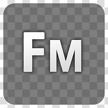 Hud AdobeCS icons, fm, white FM logo transparent background.