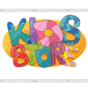 Kids store cartoon logo. Colorful bubble letters fo.