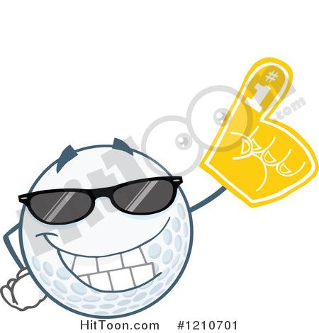 Golf Ball Clipart #1210701: Cool Golf Ball Mascot Wearing a Foam.